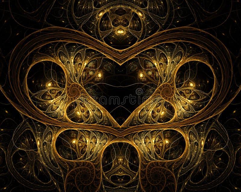 χρυσό καλώδιο καρδιών στοκ εικόνες