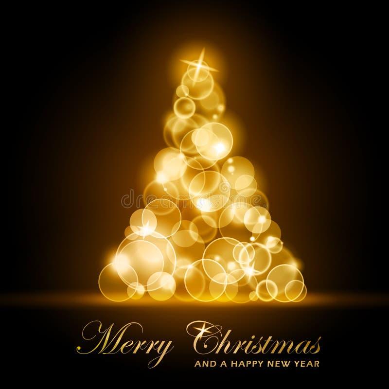 Χρυσό καμμένος χριστουγεννιάτικο δέντρο απεικόνιση αποθεμάτων