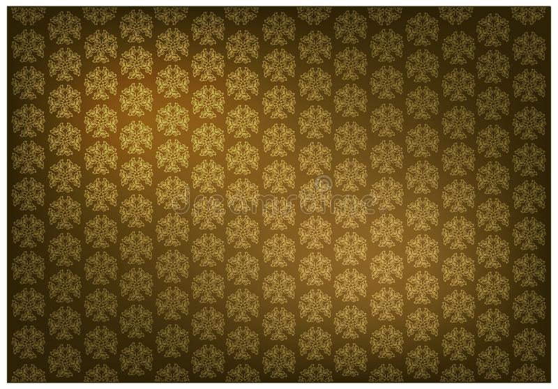 Χρυσό καφετί χρώμα του ταϊλανδικού εκλεκτής ποιότητας υποβάθρου σχεδίων ταπετσαριών ελεύθερη απεικόνιση δικαιώματος