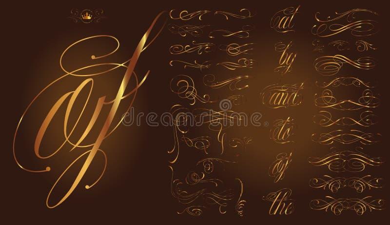 Χρυσό καλλιγραφικό σύνολο δερματοστιξιών διανυσματική απεικόνιση