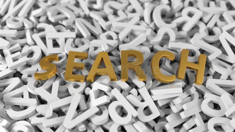 Χρυσό κείμενο αναζήτησης ` ` στο σωρό των άσπρων επιστολών τρισδιάστατη απεικόνιση ελεύθερη απεικόνιση δικαιώματος