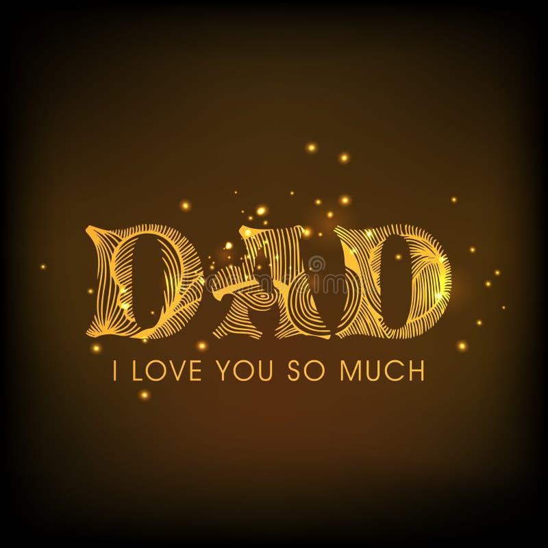 Χρυσό κείμενο για τον εορτασμό ημέρας του ευτυχούς πατέρα απεικόνιση αποθεμάτων