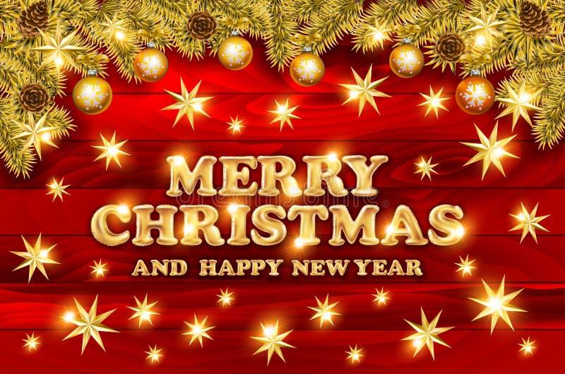 Χρυσό κείμενο στο σκούρο κόκκινο υπόβαθρο Χαρούμενα Χριστούγεννα και εγγραφή καλής χρονιάς για την πρόσκληση και τη ευχετήρια κάρ απεικόνιση αποθεμάτων