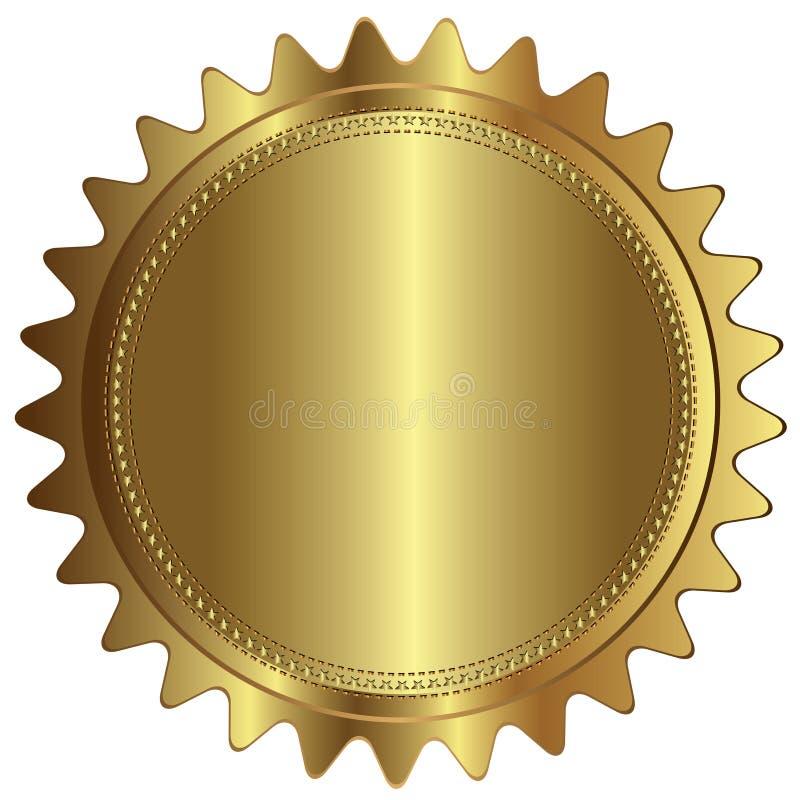 Χρυσό κενό κενό ετικετών διακριτικών σφραγίδων απεικόνιση αποθεμάτων