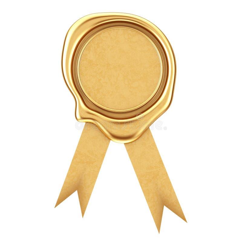 Χρυσό κερί ή Signet σφραγίδων με την κορδέλλα τρισδιάστατη απόδοση απεικόνιση αποθεμάτων