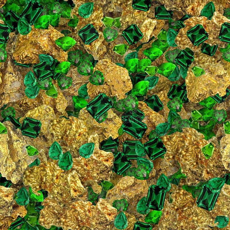 Χρυσό κεραμίδι σύστασης ψηγμάτων και σμαράγδων άνευ ραφής στοκ φωτογραφία με δικαίωμα ελεύθερης χρήσης