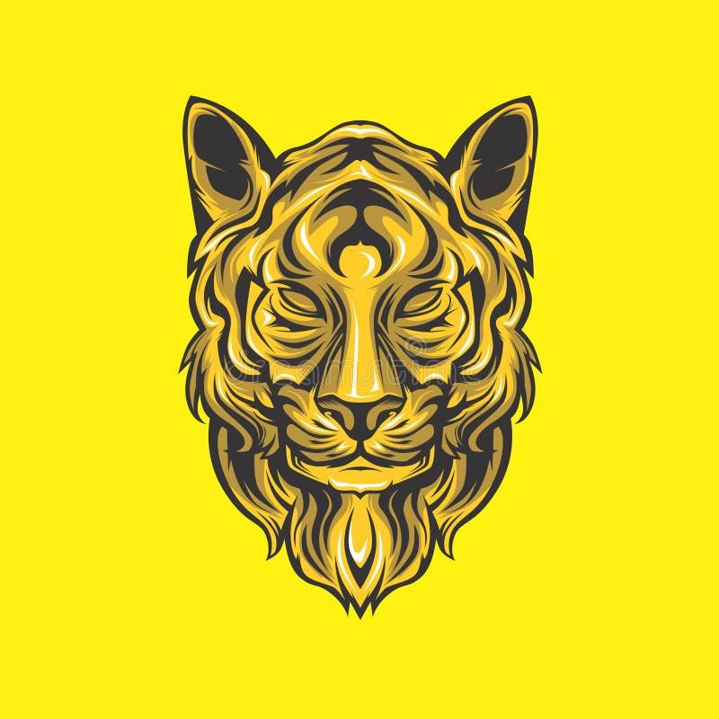 Χρυσό κεφάλι λιονταριών ελεύθερη απεικόνιση δικαιώματος