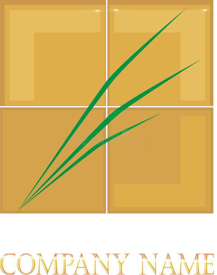 Χρυσό κιβώτιο στο διάνυσμα λογότυπων χλόης απεικόνιση αποθεμάτων