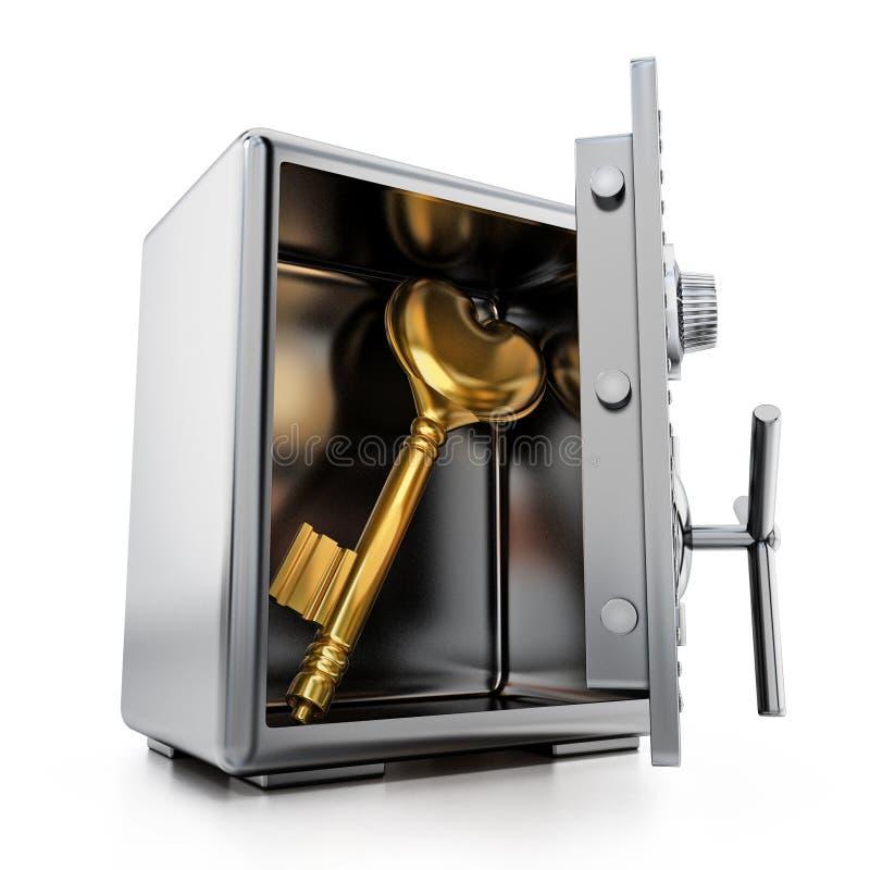 Χρυσό κλειδί με τη μορφή καρδιών μέσα στο χρηματοκιβώτιο χάλυβα τρισδιάστατη απεικόνιση απεικόνιση αποθεμάτων
