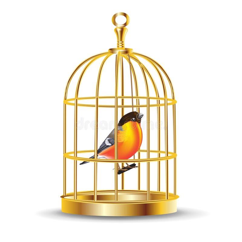 Χρυσό κλουβί πουλιών με το πουλί μέσα διανυσματική απεικόνιση