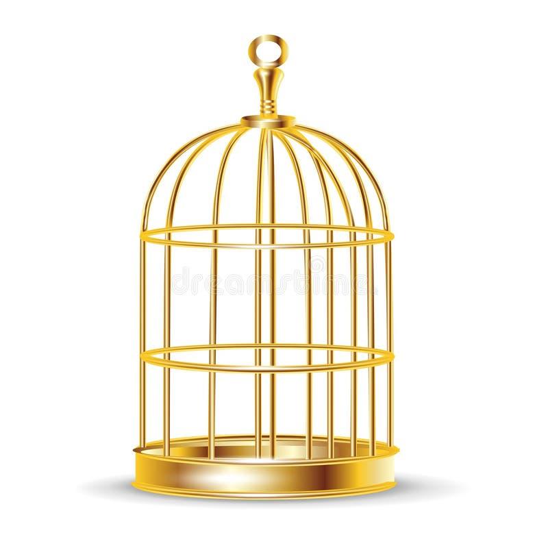 Χρυσό κλουβί πουλιών ελεύθερη απεικόνιση δικαιώματος