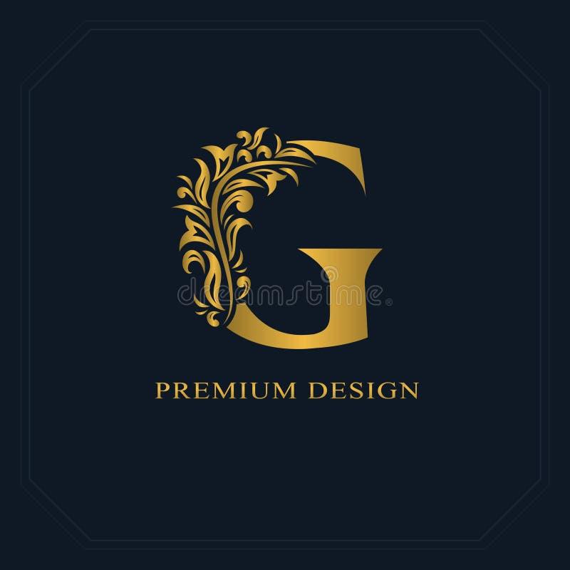 Χρυσό κομψό γράμμα Γ Χαριτωμένο ύφος Καλλιγραφικό όμορφο λογότυπο Συρμένο τρύγος έμβλημα για το σχέδιο βιβλίων, εμπορικό σήμα, επ απεικόνιση αποθεμάτων
