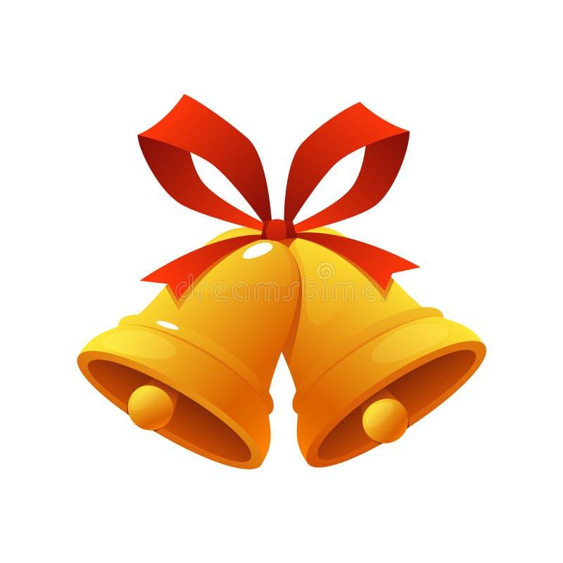 Χρυσό κουδούνι Χριστουγέννων με την κόκκινη διανυσματική απεικόνιση εικονιδίων κάλαντων κορδελλών στο άσπρο υπόβαθρο διανυσματική απεικόνιση
