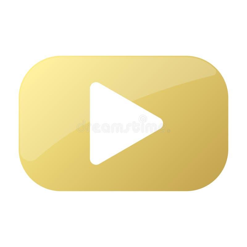 Χρυσό κουμπί με το εικονίδιο παιχνιδιού στο διάνυσμα διανυσματική απεικόνιση