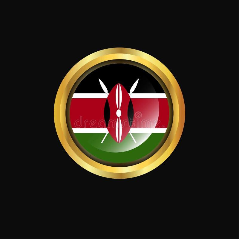 Χρυσό κουμπί σημαιών της Κένυας ελεύθερη απεικόνιση δικαιώματος