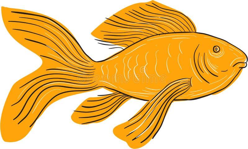 Χρυσό κολυμπώντας σχέδιο Koi πεταλούδων ελεύθερη απεικόνιση δικαιώματος