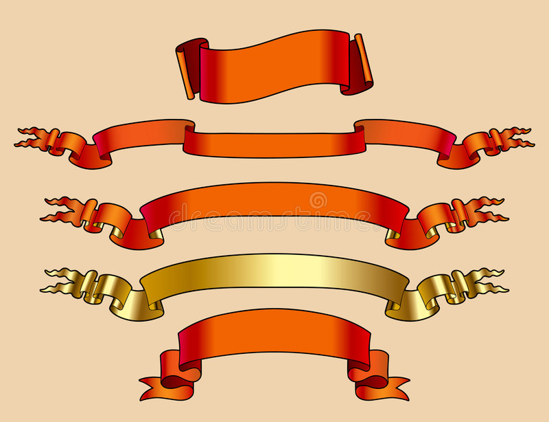 χρυσό κόκκινο εμβλημάτων διανυσματική απεικόνιση