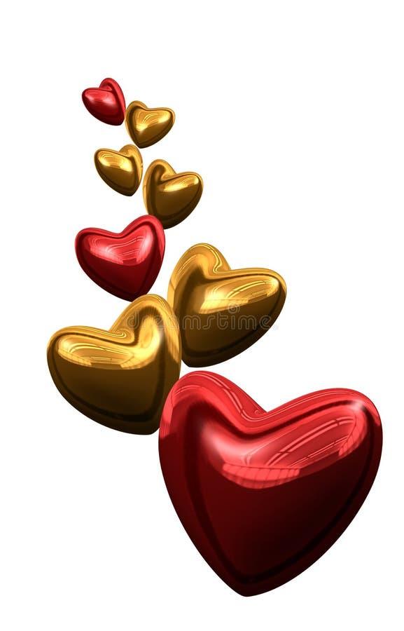 χρυσό κόκκινο καρδιών διανυσματική απεικόνιση
