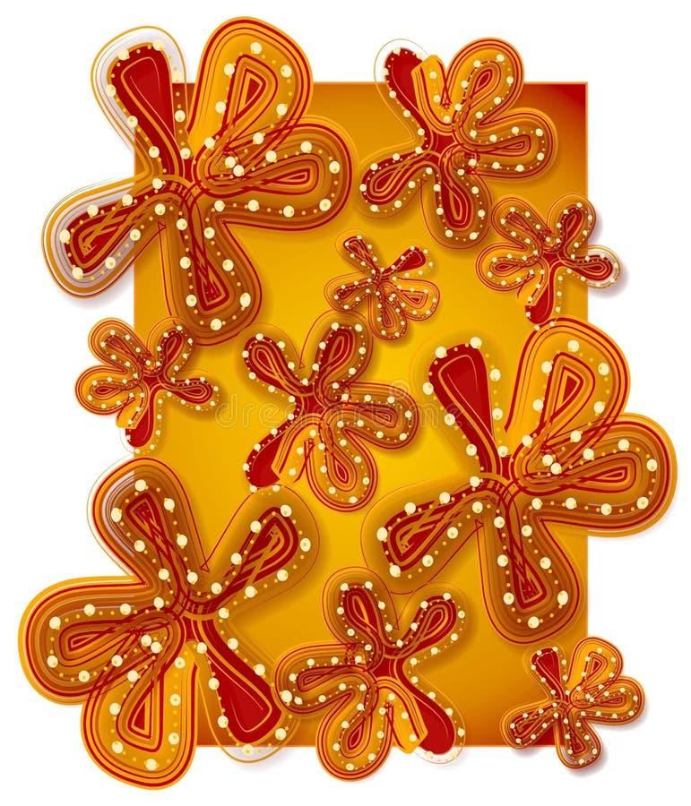 χρυσό κόκκινο λουλουδ& διανυσματική απεικόνιση