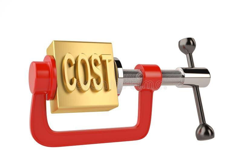 Χρυσό κόστος λέξης στην τρισδιάστατη απεικόνιση έννοιας μείωσης του κόστους σφιγκτηρών απεικόνιση αποθεμάτων