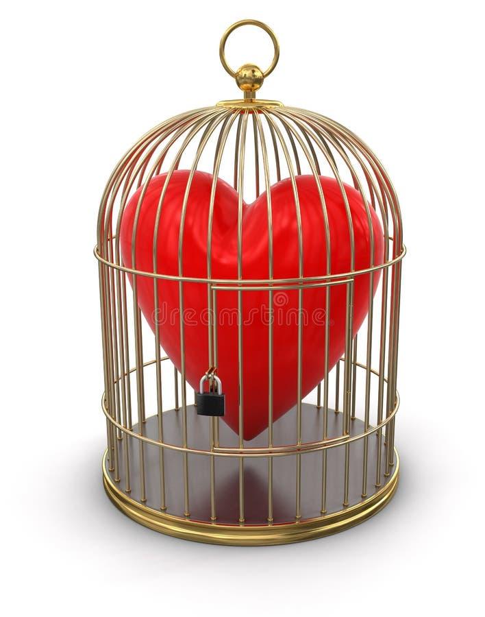 Χρυσό κλουβί με την καρδιά (πορεία ψαλιδίσματος συμπεριλαμβανόμενη) διανυσματική απεικόνιση