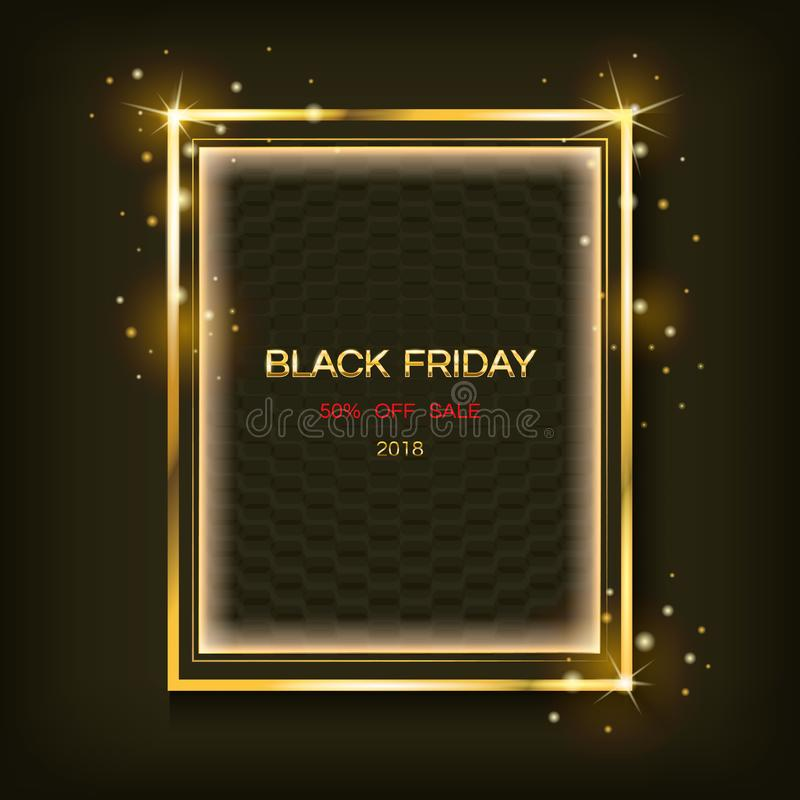 Χρυσό λαμπιρίζοντας τετραγωνικό πλαίσιο με το μαύρο έμβλημα πωλήσεων Παρασκευής κειμένων Διανυσματική αφίσα διανυσματική απεικόνιση