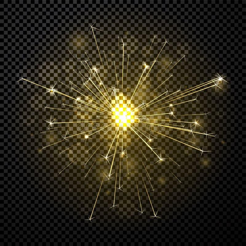 Χρυσό λαμπρό πυροτέχνημα ή sparkler στο διαφανές υπόβαθρο ελεύθερη απεικόνιση δικαιώματος