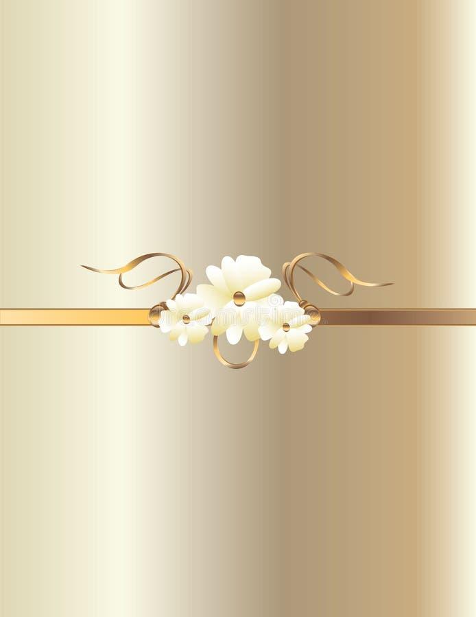 χρυσό λευκό λουλουδιώ& διανυσματική απεικόνιση