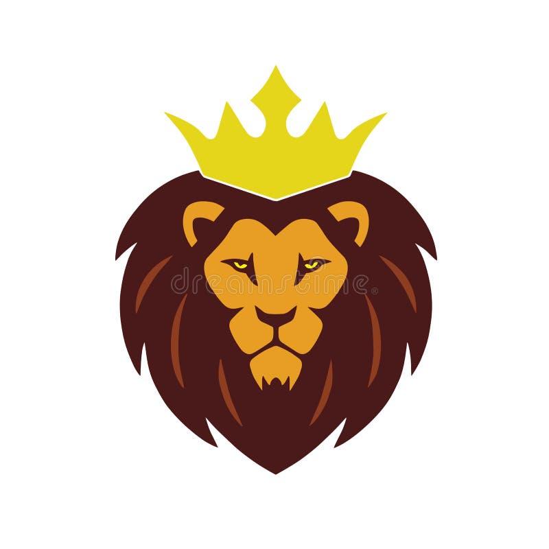 Χρυσό λογότυπο κορωνών βασιλιάδων λιονταριών απεικόνιση αποθεμάτων