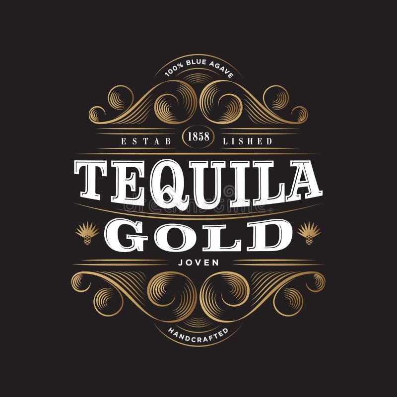 Χρυσό λογότυπο Tequila Χρυσή ετικέτα Tequila Σχέδιο συσκευασίας ασφαλίστρου Διακοσμητικά στοιχεία σύνθεσης και Curlicues εγγραφής ελεύθερη απεικόνιση δικαιώματος