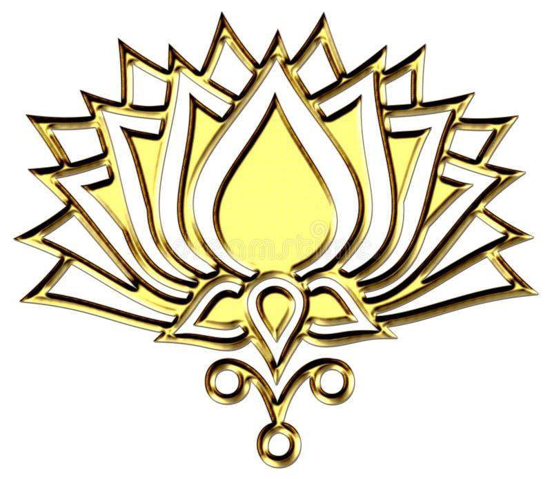 Χρυσό λουλούδι Lotus - Διαφωτισμός συμβόλων διανυσματική απεικόνιση
