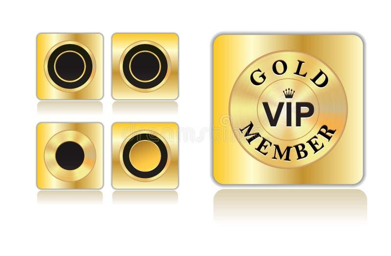 Χρυσό μέλος και χρυσά εικονίδια απεικόνιση αποθεμάτων