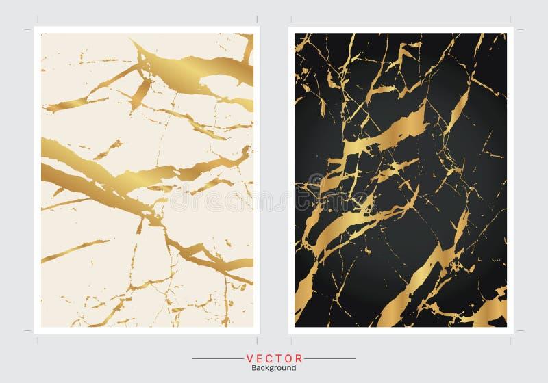 Χρυσό μαρμάρινο υπόβαθρο κάλυψης, διανυσματικό καθορισμένο πρότυπο διανυσματική απεικόνιση