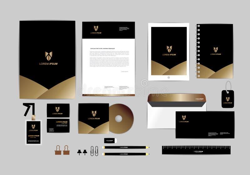 Χρυσό, μαύρο και ασημένιο εταιρικό πρότυπο ταυτότητας για την επιχείρησή σας 2 διανυσματική απεικόνιση