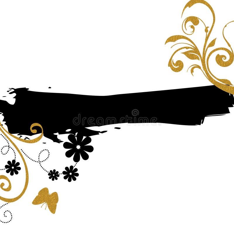 Χρυσό μαύρο floral υπόβαθρο στοκ φωτογραφίες