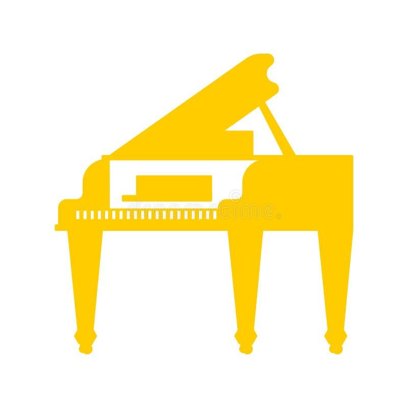 Χρυσό μεγάλο πιάνο που απομονώνεται Μουσικό διανυσματικό illustratio οργάνων ελεύθερη απεικόνιση δικαιώματος