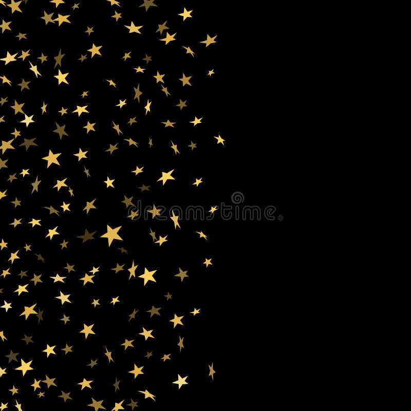 Χρυσό μειωμένο κομφετί αστεριών που απομονώνεται στο μαύρο υπόβαθρο Χρυσή αφηρημένη τυχαία κάρτα Χριστουγέννων σχεδίων, νέο έτος ελεύθερη απεικόνιση δικαιώματος