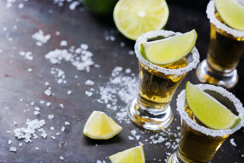 Χρυσό μεξικάνικο tequila που πυροβολείται με τον πράσινους ασβέστη και το άλας στοκ εικόνα