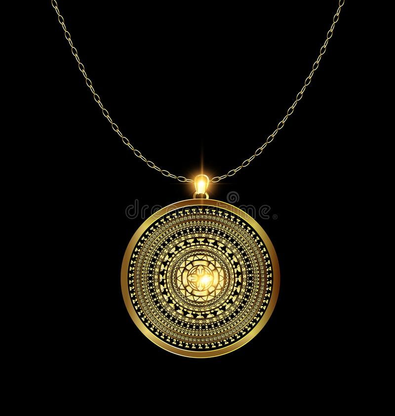 Χρυσό μετάλλιο κρεμαστών κοσμημάτων διανυσματική απεικόνιση