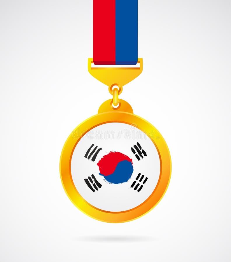 Χρυσό μετάλλιο με την κορεατική σημαία διανυσματική απεικόνιση