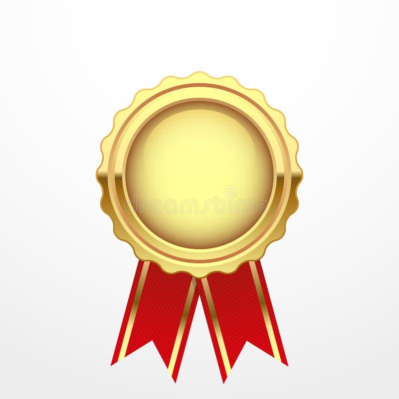 Χρυσό μετάλλιο με την κόκκινη κορδέλλα ελεύθερη απεικόνιση δικαιώματος