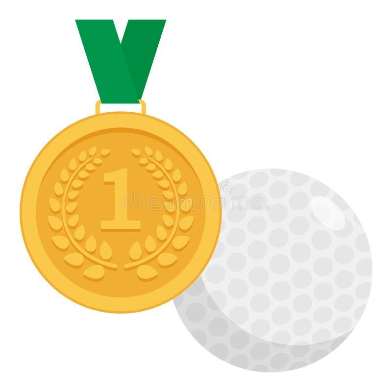 Χρυσό μετάλλιο και επίπεδο εικονίδιο σφαιρών γκολφ στο λευκό απεικόνιση αποθεμάτων