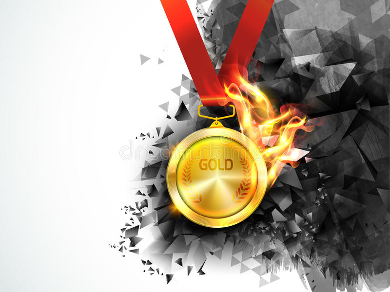 Χρυσό μετάλλιο στην πυρκαγιά για την αθλητική έννοια διανυσματική απεικόνιση