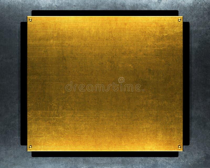 χρυσό μεταλλικό πιάτο grunge διανυσματική απεικόνιση