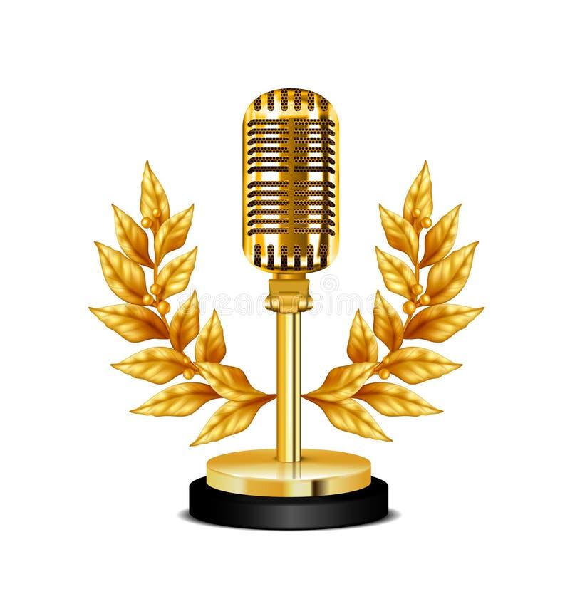Χρυσό μικρόφωνο υπολογιστών γραφείου βραβείων απεικόνιση αποθεμάτων