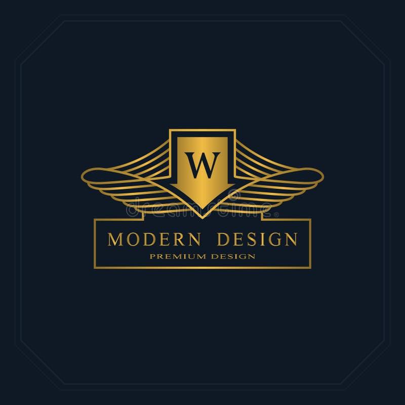 Χρυσό μονόγραμμα γραφικής παράστασης γραμμών Κομψό σχέδιο λογότυπων τέχνης γράμμα W Χαριτωμένο πρότυπο Επιχειρησιακό σημάδι, ταυτ ελεύθερη απεικόνιση δικαιώματος