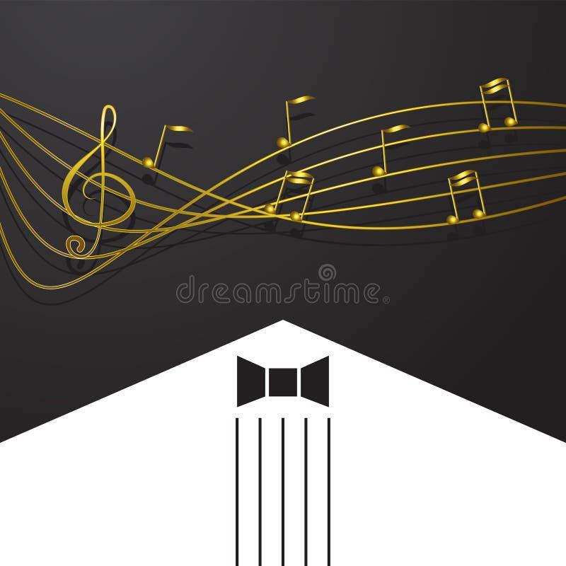 Χρυσό μουσικό πέταγμα σημειώσεων που απομονώνεται στο μαύρο υπόβαθρο Χρυσά διανυσματικά σύμβολα για την καταγραφή μελωδίας, τις τ απεικόνιση αποθεμάτων