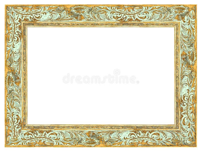Χρυσό μπαρόκ πλαίσιο με την ανοικτό πράσινο όρφνωση στοκ φωτογραφία με δικαίωμα ελεύθερης χρήσης
