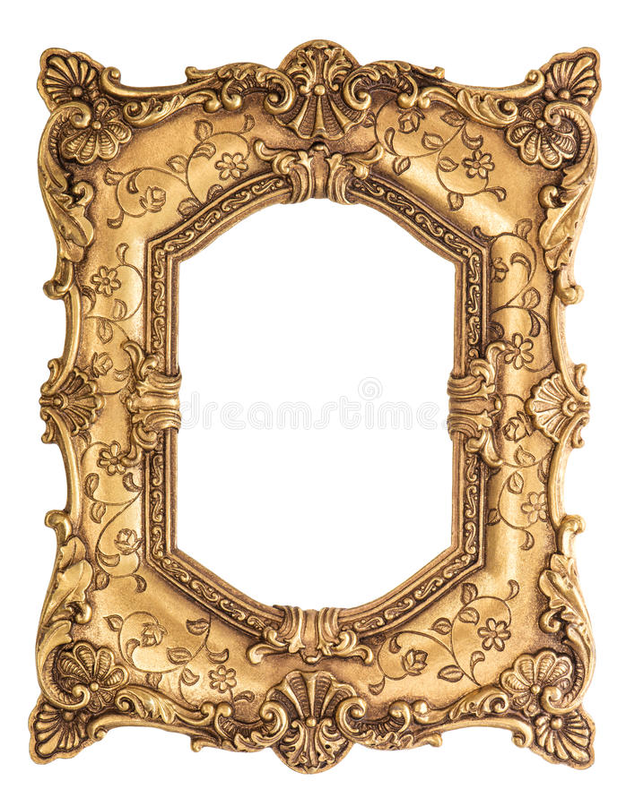 Χρυσό μπαρόκ πλαίσιο που απομονώνεται στο άσπρο υπόβαθρο στοκ εικόνες με δικαίωμα ελεύθερης χρήσης