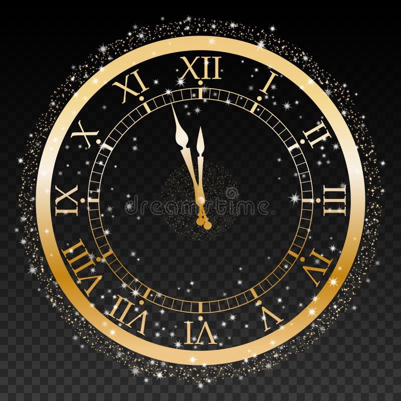 Χρυσό νέο ρολόι έτους σε ένα διαφανές διάνυσμα υποβάθρου διανυσματική απεικόνιση